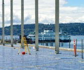 Mukilteo Ferry in background, terminal construction from roof top