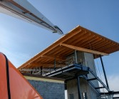 Mukilteo ferry terminal under construction, wood beams and roof