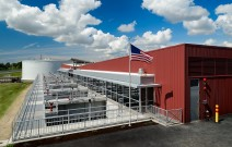 Sunny Day at Anacortes Water Treatment Plant with American Flag