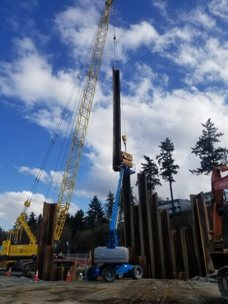 IMCO crews on the Mukilteo Multimodal Terminal Project installing sheet piles for future deep water storm utilities