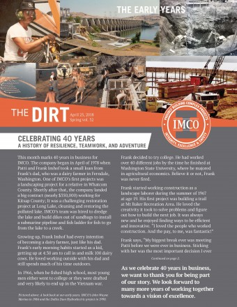THE DIRT NEWSLETTER HIGHLIGHTS, VOLUME 32 - Cover of IMCO Newsletter