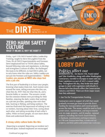 IMCO Volume 20 The DIRT Highlights Corporate Newsletter