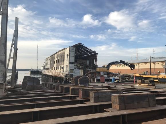IMCO crew performing demolition at the Fairhaven Shipyard