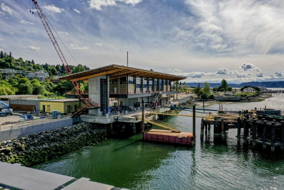 The city of Mukilteo's longhouse-inspired ferry terminal is on track to open to passengers this fall.