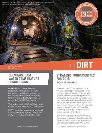 The DIRT newsletter with round orange IMCO logo and gray I-beam, construction worker inside tunnel with large pipe