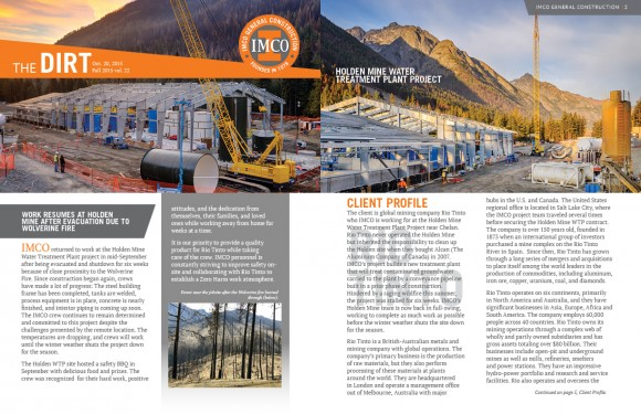 IMCO quarterly newsletter with Holden Mine construction site  picutres, construction workers, text, IMCO logo