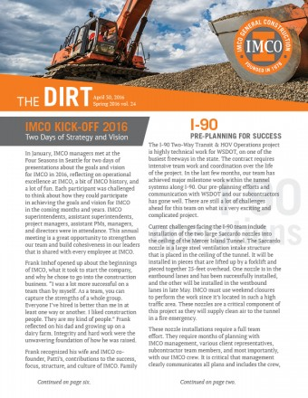 IMCO quarterly newsletter image with logo, photos of backhoe digging