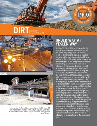 IMCO newsletter with logo, photo of excavator, gray text block, and two bridge construction photos at Yesler Way in Seattle, WA.
