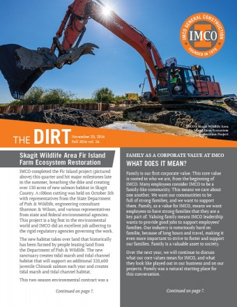 The Dirt newsletter with round IMCO logo and orange heading box, excavator working and sunlight