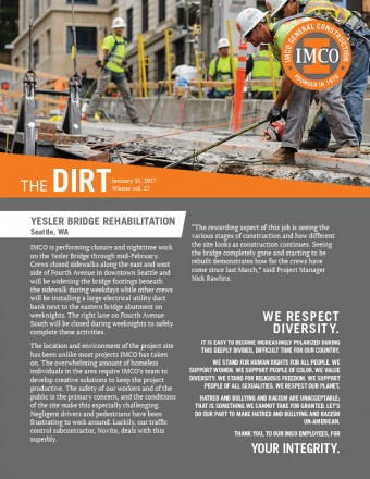 The Dirt newsletter with round IMCO logo and orange heading box, excavator working and construction worker