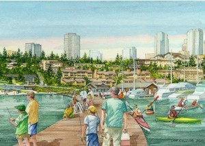 The new park will have a curved fishing pier that will extend into Lake Washington and separate the existing marina from the new, expanded swimming beach.