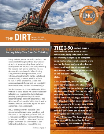 IMCO quarterly newsletter image with logo, photos of backhoe digging and workers inside 1-90 tunnels