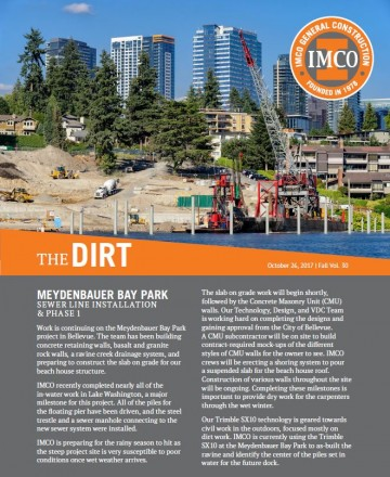 IMCO Newsletter Cover Featuring Construction at Meydenbauer Bay Park with Bellevue Buildings in the Background