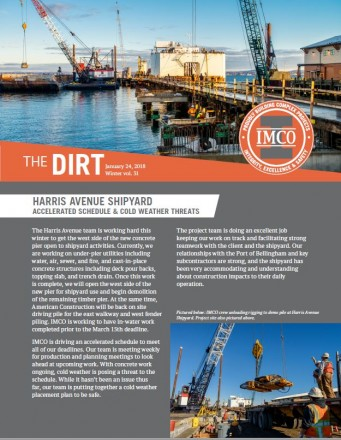 Front cover of the DIRT Newsletter featuring Harris Avenue Shipyard crane work on the docks in Bellingham Bay