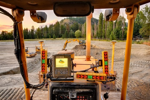 first person tractor view at wastewater treatment facility construction site