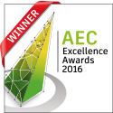 AEC Excellene Award logo, green and yellow triangle with red banner and AEC text