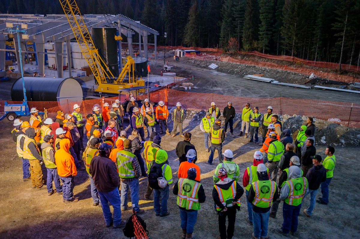 IMCO crew meeting outside at the Holden Mine Water Treatment Plant job site