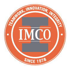 round IMCO logo with gray center and teamwork innovation and integrity text