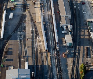 Bird's eye-view of Amtrak Maintenance Facility construction site