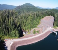 UAV bird's eye-view of Culmback Dam at Spada Lake