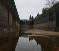 View from the bottom of the dewatered Chittenden Locks