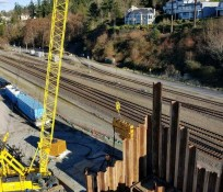 Looking down at pile driving on construction site at the Mukilteo Ferry Terminal