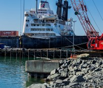 Port of Bellingham Marine Repair site with crane and ship