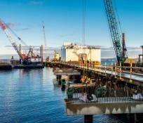 Multiple IMCO construction cranes at the Harris Avenue Shipyard