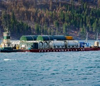 Barge on Lake Chelan transporting material and crew to and from the jobsite