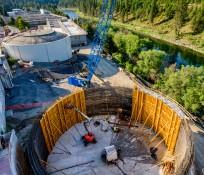 Crane at Silo construction site at Riverside Park, Spokane, Washington
