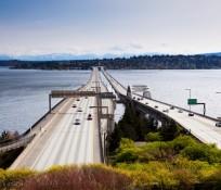 I-90 bridge connecting Mercer Island and Seattle, Washington