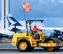 Construction Steamroller at Paine Field Airport Runway