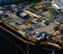 UAV bird's eye-view of Seattle Terminal 117 clean-Up construction site